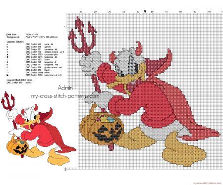 Pato Donald no Halloweeen em ponto cruz 02