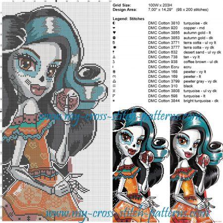 Skelita Monster High no Halloweeen em ponto cruz