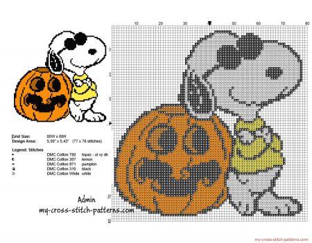 Snoopy no Halloweeen em ponto cruz