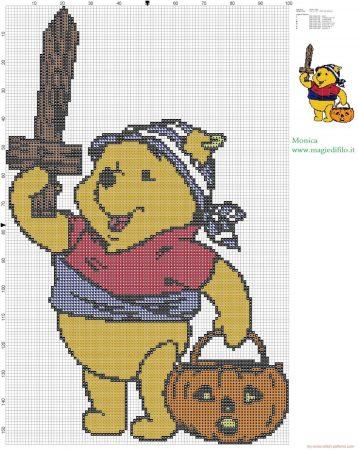 Ursinho Pooh no Halloweeen em ponto cruz