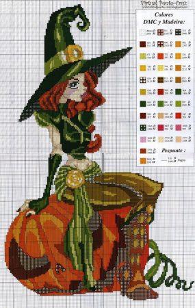bruxa sentada em abobora em ponto cruz 001