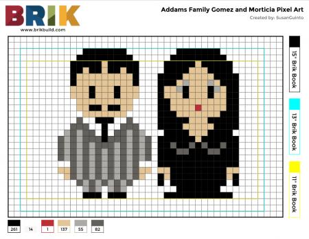 familia addams Gomez e Mortícia Addams ponto cruz