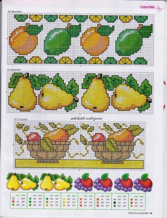Barrado Cozinha Frutas e Vegetais BordadoPontoCruz com 01