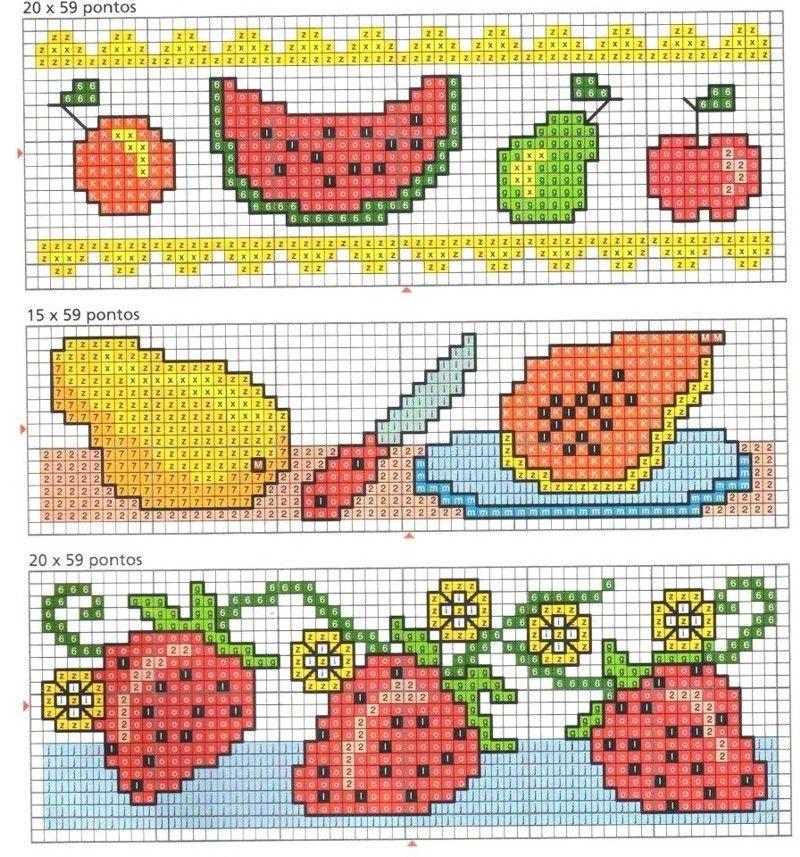 Barrado Cozinha Frutas e Vegetais BordadoPontoCruz com 02