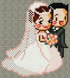 Coleção Casal Apaixonado Noivos e Casados BordadoPontoCruz com 01