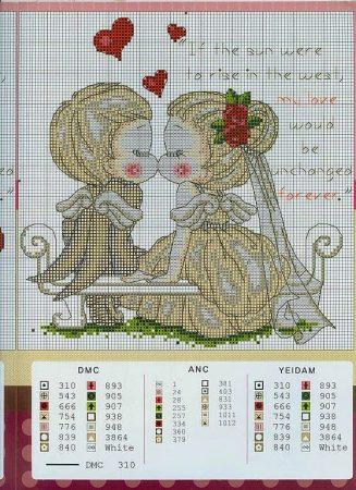 Coleção Casal Apaixonado Noivos e Casados BordadoPontoCruz com 08