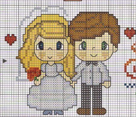 Coleção Casal Apaixonado Noivos e Casados BordadoPontoCruz com 12