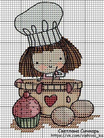 Coleção gráficos de Bonecas Profissão Cozinheira bordadopontocruz com 01