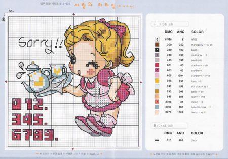 Coleção gráficos de Bonecas Profissão Garçonete bordadopontocruz com 01