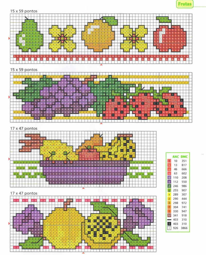 Cozinha Comidas Frutas e Vegetais BordadoPontoCruz com 11