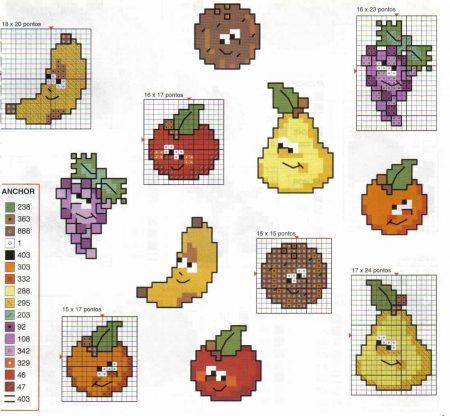 Cozinha Comidas Frutas e Vegetais BordadoPontoCruz com 13
