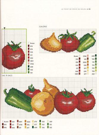 Cozinha Comidas Frutas e Vegetais BordadoPontoCruz com 21