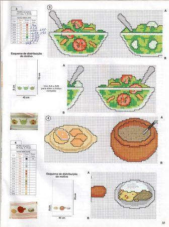 Cozinha Comidas Frutas e Vegetais BordadoPontoCruz com 24