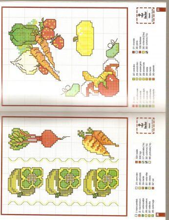 Cozinha Comidas Frutas e Vegetais BordadoPontoCruz com 29