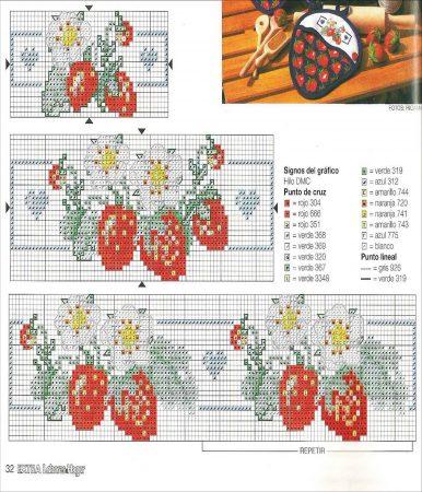 Cozinha Comidas Frutas e Vegetais BordadoPontoCruz com 31