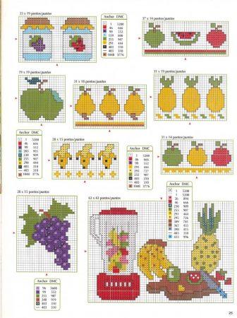 Cozinha Comidas Frutas e Vegetais BordadoPontoCruz com 34