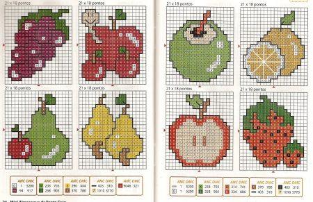 Cozinha Comidas Frutas e Vegetais BordadoPontoCruz com 39
