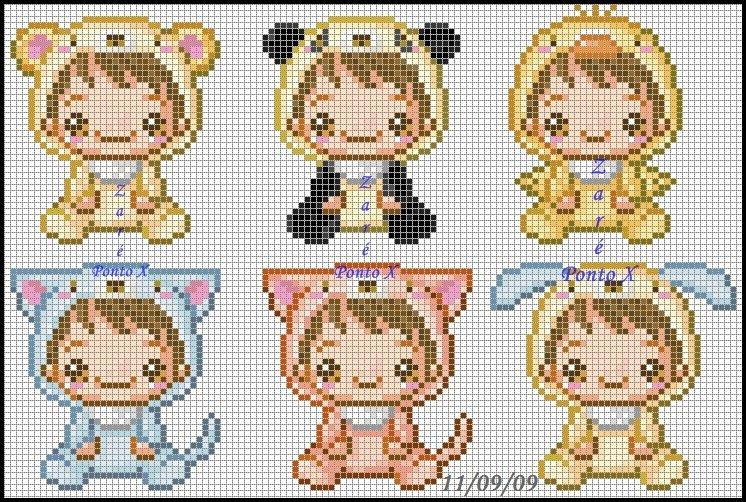 Criancas Chibi Kawaii Anime com Fantasia BordadoPontoCruz com 01