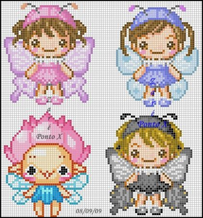 Criancas Chibi Kawaii Anime com Fantasia BordadoPontoCruz com 02
