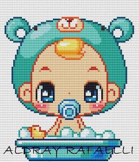 Criancas Chibi Kawaii Anime com Fantasia BordadoPontoCruz com 05