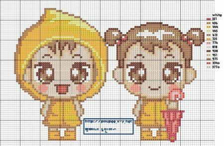 Criancas Chibi Kawaii Anime com Fantasia BordadoPontoCruz com 07