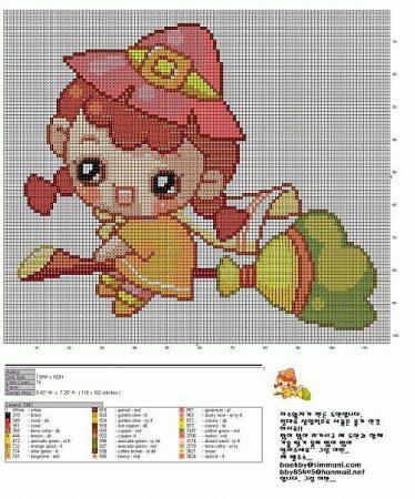 Criancas Chibi Kawaii Anime com Fantasia BordadoPontoCruz com 08