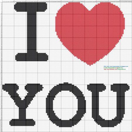 Frases I Love You Amor BordadoPontoCruz com 02