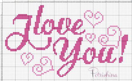Frases I Love You Amor BordadoPontoCruz com 07