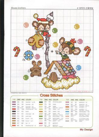 Kit Régua de Altura Quadro e Relógio Ratinhos de Natal BordadoPontoCruz com 06