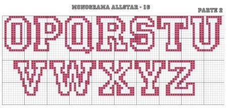 Monograma Alfabeto All Star Vazado Maiusculo BordadoPontoCruz com 02