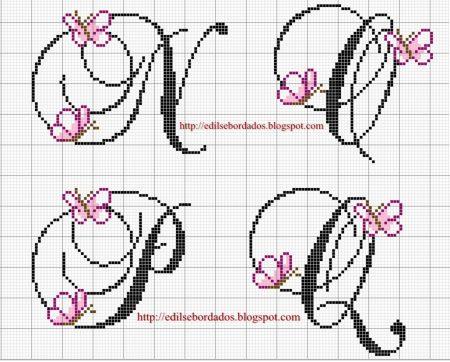 Monograma borboleta delicada em ponto cruz 5