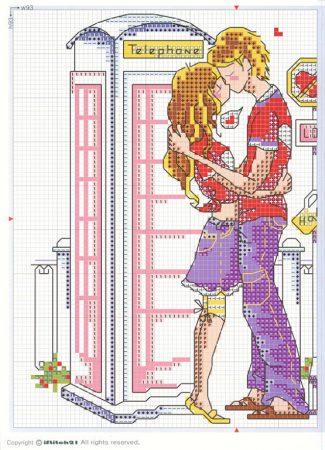 Namorados Apaixonados Casal Beijo Frances Soda BordadoPontoCruz com 2