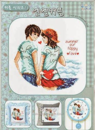 Namorados Apaixonados Casal na PraiaSoda BordadoPontoCruz com 1