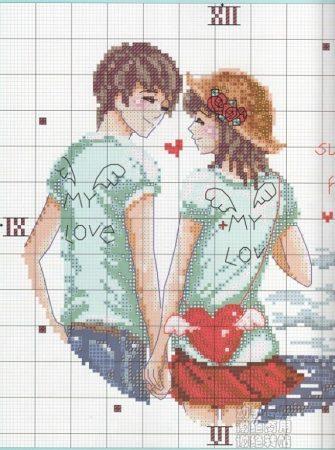 Namorados Apaixonados Casal na PraiaSoda BordadoPontoCruz com 2