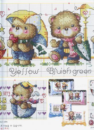 Quadro de Ursos Ursinhos BordadoPontoCruz com 03