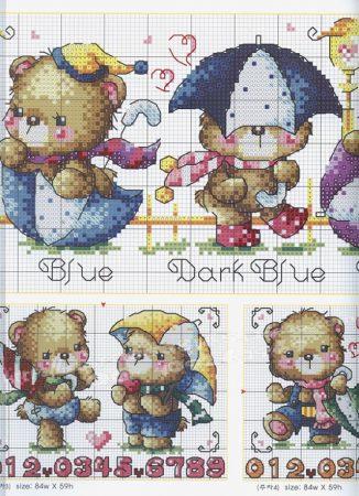 Quadro de Ursos Ursinhos BordadoPontoCruz com 04