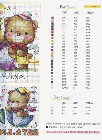 Quadro de Ursos Ursinhos BordadoPontoCruz com 05