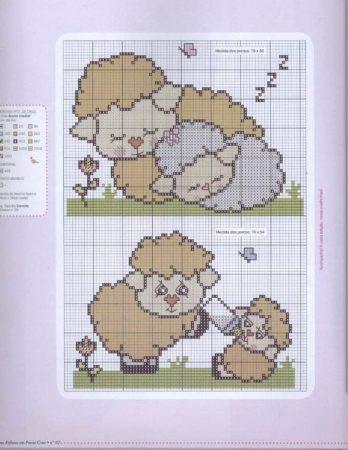 colecao de ovelha em ponto cruz 12