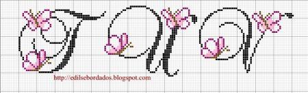 Monograma borboleta delicada pequeno em ponto cruz 4