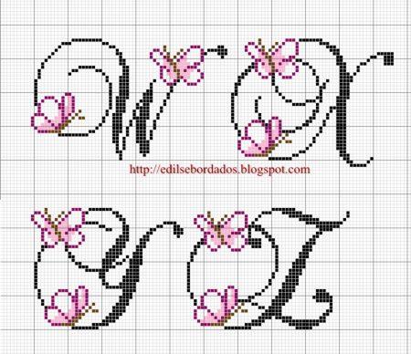 Monograma borboleta delicada pequeno em ponto cruz 5