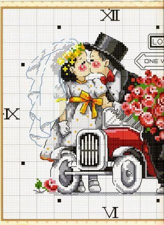 Namorados Apaixonados Casal Carro Recem Casados Soda BordadoPontoCruz com 01