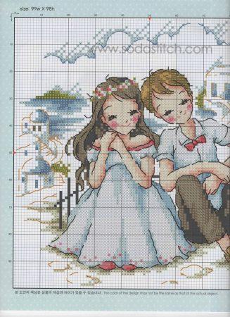 Namorados Apaixonados Casal Sentado na Praia Soda BordadoPontoCruz com 2