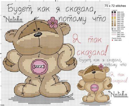 Urso Ursinho Fuzzy Moon BordadoPontoCruz 01