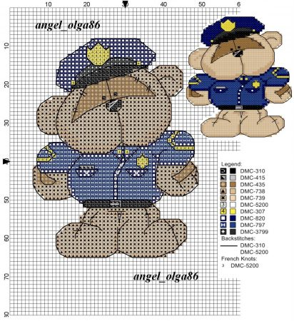 Urso Ursinho Fuzzy Moon BordadoPontoCruz 02