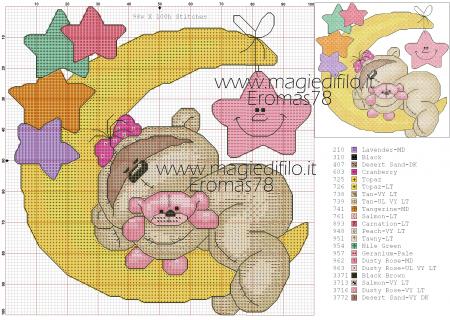Urso Ursinho Fuzzy Moon BordadoPontoCruz 03
