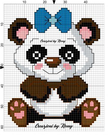 Urso Ursinho Panda BordadoPontoCruz 002