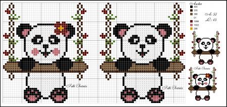 Urso Ursinho Panda BordadoPontoCruz 006