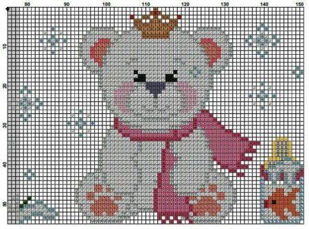 Urso Ursinho Príncipe Princesa Rei Rainha BordadoPontoCruz 07
