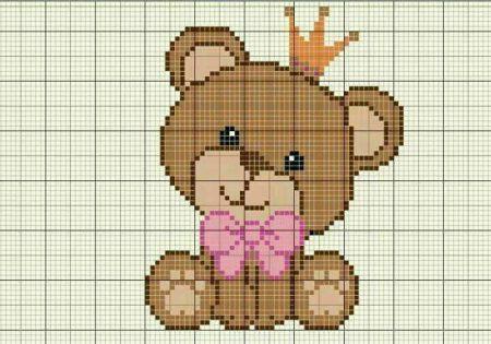 Urso Ursinho Príncipe Princesa Rei Rainha BordadoPontoCruz 10