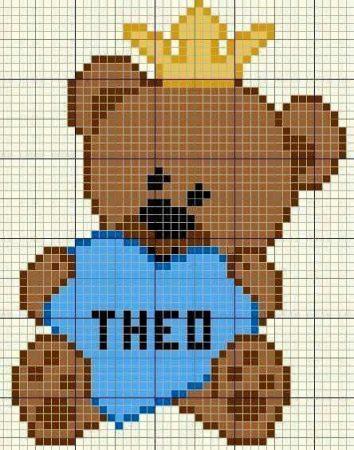 Urso Ursinho Príncipe Princesa Rei Rainha BordadoPontoCruz 11